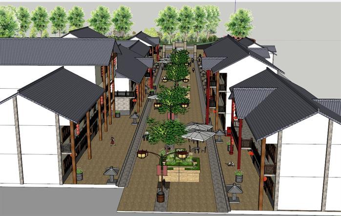 某现代中式风格商业街建筑su设计精致模型[原创]