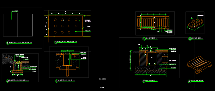 截水沟及雨水口标准设计施工图,内容含有排水沟平面图,盖板构件详图