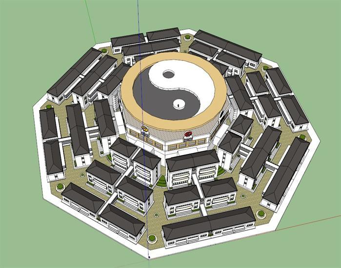 某现代中式风格八卦形别墅区建筑su设计模型[原创]