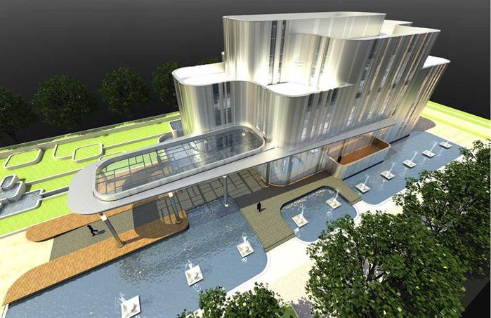 某售楼处建筑设计文本方案,内容包含了建筑以及外围水景详细的规划