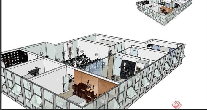 某现代风格办公室室内装修JPG设计方案图(2)