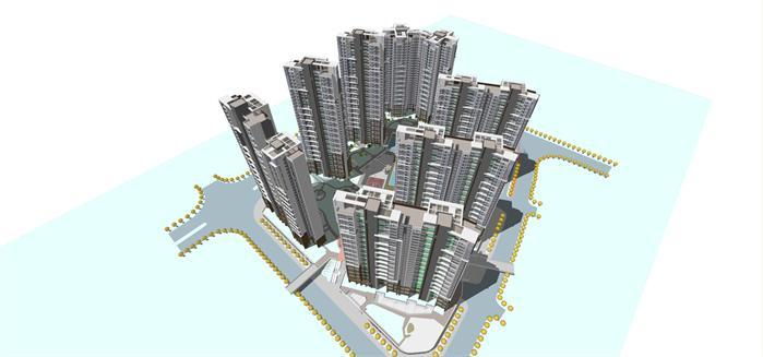 长沙市某现代风格高层住宅小区建筑设计方案 附PPT方案文本 报建