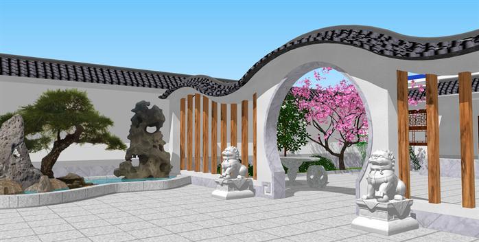 某中式院落景观设计su模型(1)