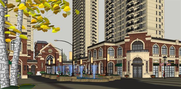 某欧式商住小区建筑设计su模型(附规划设计方案ppt)