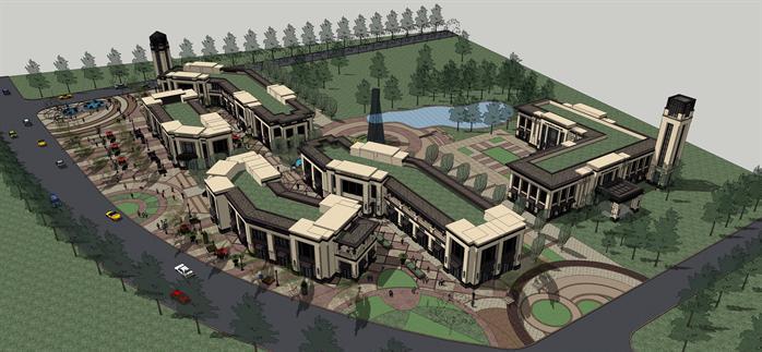 某欧式休闲商业广场建筑设计SU模型,模型场景较大,制作精细,细节处理得当,附带中间广场和水池的景观设计,风格为欧陆风格,具有一定的参考价值,有需要的朋友可以下载使用。