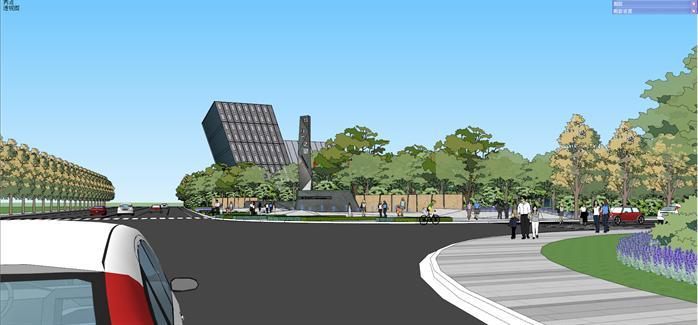 长沙某现代售楼处建筑设计与景观设计方案su模型(2)