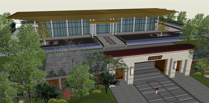 某新中式风格高档私人会所建筑设计su模型图片