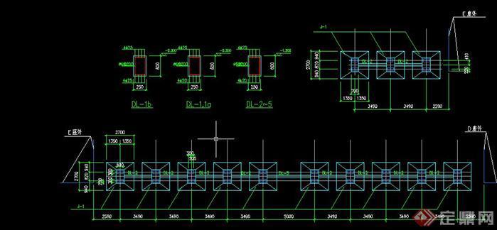 某现代风格亭廊柱基施工图