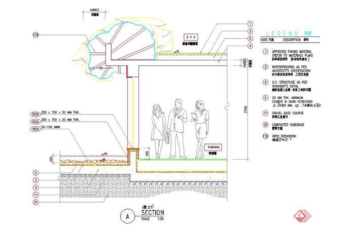 一套现代风格景观亭剖面施工图