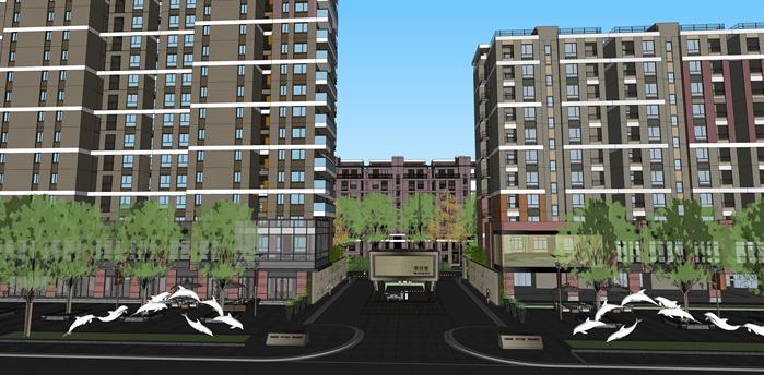 某现代商住小区商住建筑设计方案su模型(带地下车库入口方案)(1)