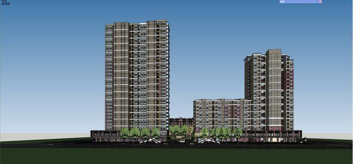 某现代商住小区商住建筑设计方案su模型(带地下车库入口方案)(4)