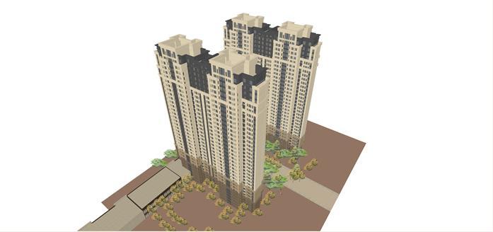 高层公寓及大门建筑设计方案su