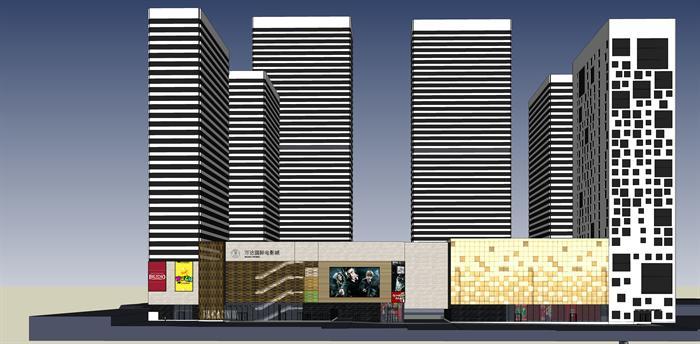 青岛某现代商业购物广场中心建筑设计方案su模型(3)