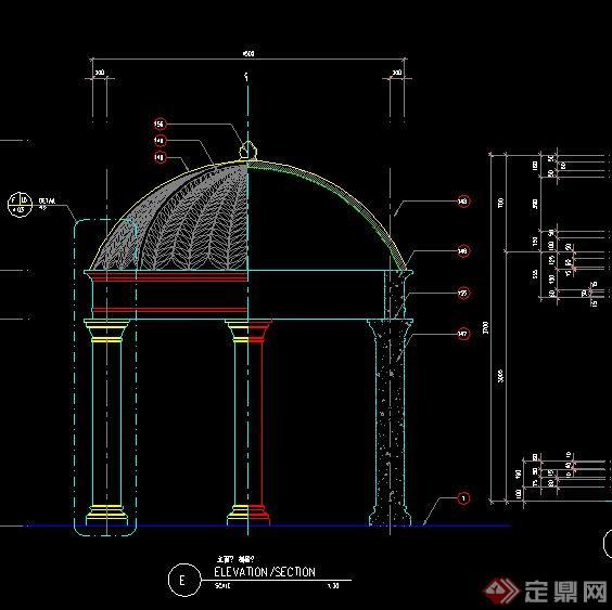 某新古典风格圆顶亭施工图