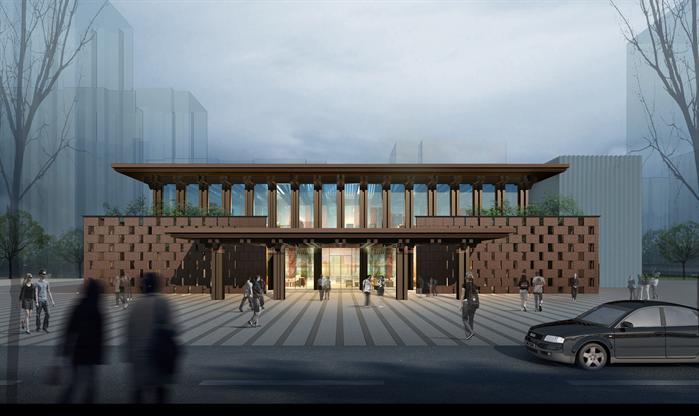 北京某新古典住宅高层,中式会所建筑设计方案su模型(附cad平面图,效果图片