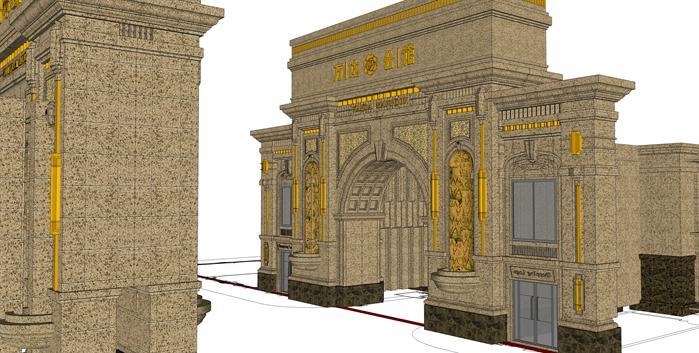 某小区四个新古典风格大门设计方案SU模型,该模型设计精美细致,细节处理较好,材质处理得,当风格是新古典风格,是比较好的大门设计方案。
