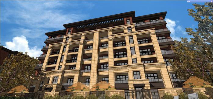 某新古典风格多层花园住宅楼建筑设计方案su模型(5)