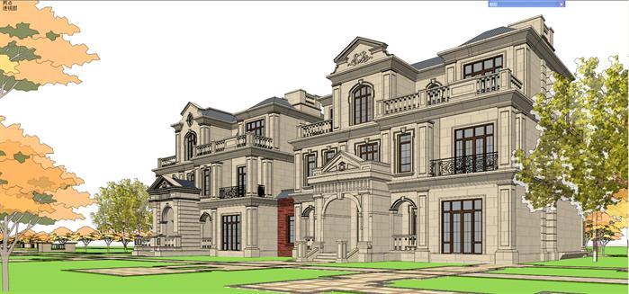 某法式联排双拼豪宅别墅建筑设计方案su模型[原创]