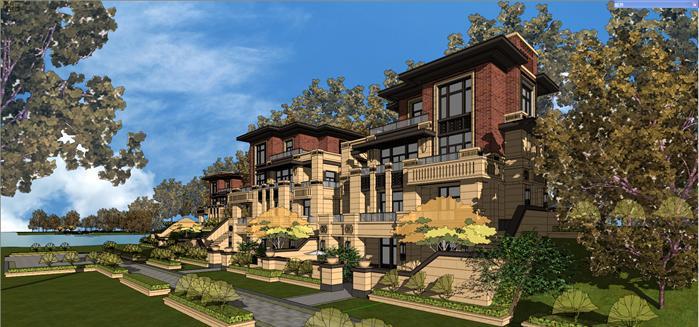 某新古典山地联排别墅建筑设计方案SU模型