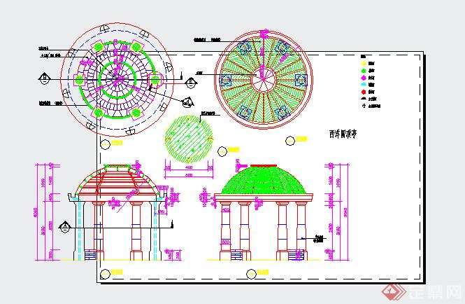 园林景观之欧式景亭设计施工图(dwg格式)