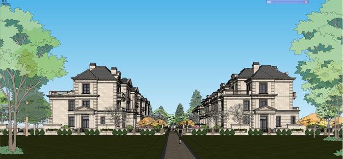 某法式联排别墅建筑设计SU模型 带入户庭院景观设计图片