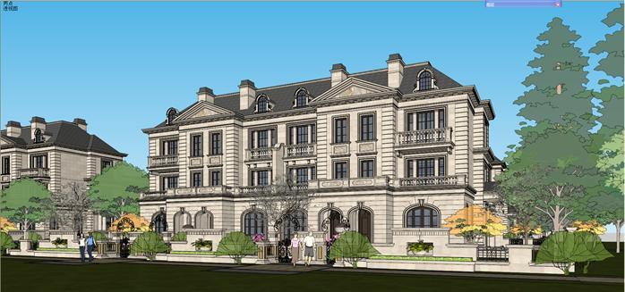 某法式联排别墅建筑设计SU模型 带入户庭院景观设计
