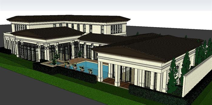 某欧式独栋别墅建筑设计方案su模型(附cad平面图)