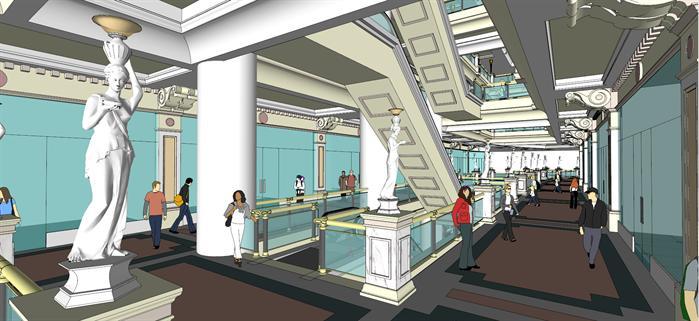 上海某欧式商业空间室内中式设计方案su模型[原创]图片