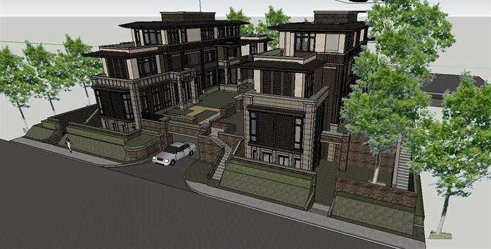 常州某现代排屋别墅建筑设计方案SU模型,该模型设计精美细致,细节处理较好,材质处理得当,风格是现代风格,是比较好的别墅建筑设计方案。