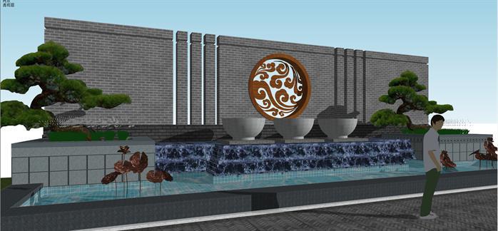 园林景观之新中式水景景墙设计方案su模型 1