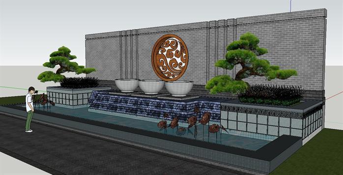 园林景观之新中式水景景墙设计方案su模型 2
