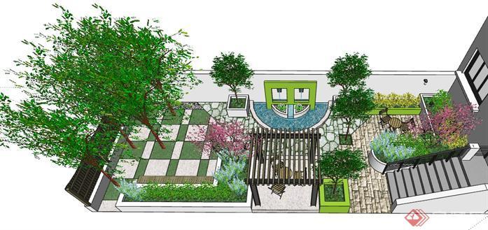 景观设计手绘植物廊架