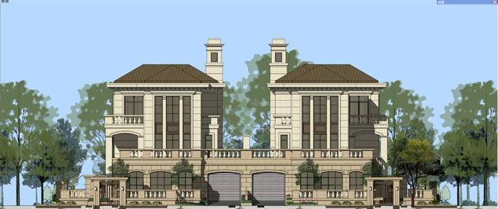 某法式双拼联排别墅建筑设计方案su模型(带入户庭院)
