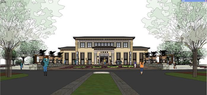 某新中式出雁会所建筑设计su模型(带入口广场景观)