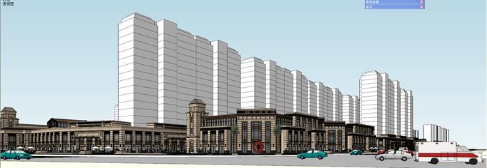 长沙某新古典风格沿街商业建筑设计方案su模型(2)