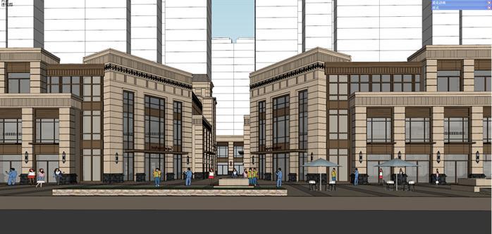沙某新古典风格沿街商业建筑设计方案SU模型高清图片