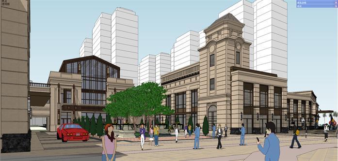 长沙某新古典风格沿街商业建筑设计方案su模型[原创]