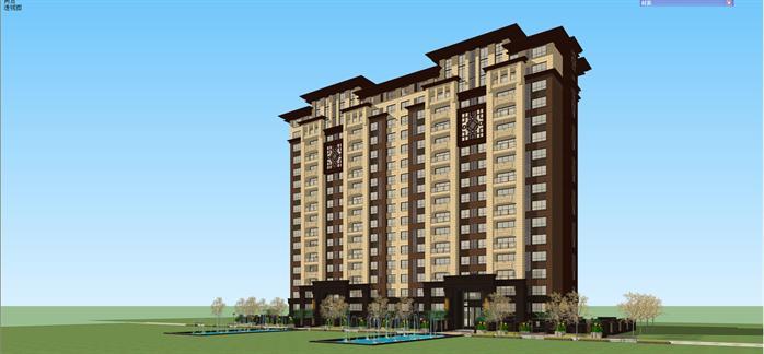 某新中式小高层住宅公寓楼建筑设计方案su模型[原创]