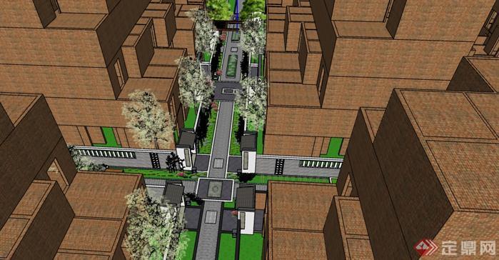 某住宅区道路景观设计su模型