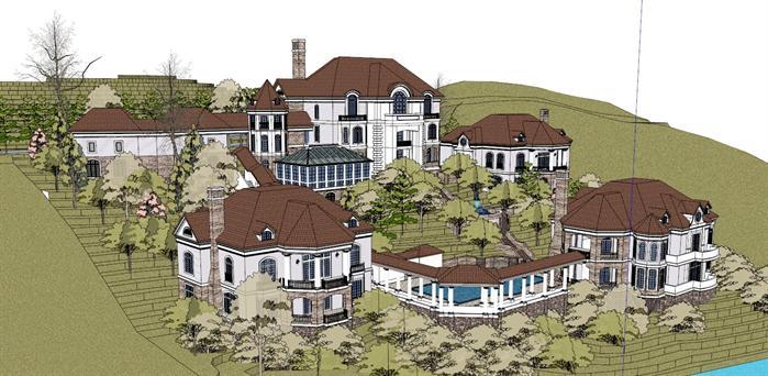 某山地临湖欧式别墅区建筑设计su模型[原创]