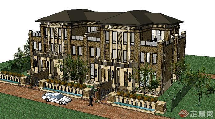 某欧式独栋别墅建筑设计方案su模型3