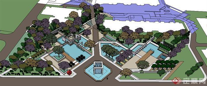 园林景观之现代小游园设计方案su模型