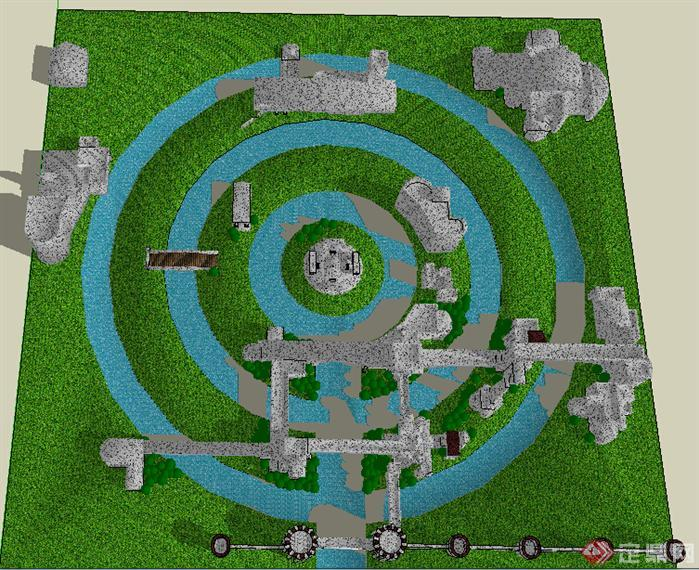 园林景观之欧式小游园景观设计方案su模型