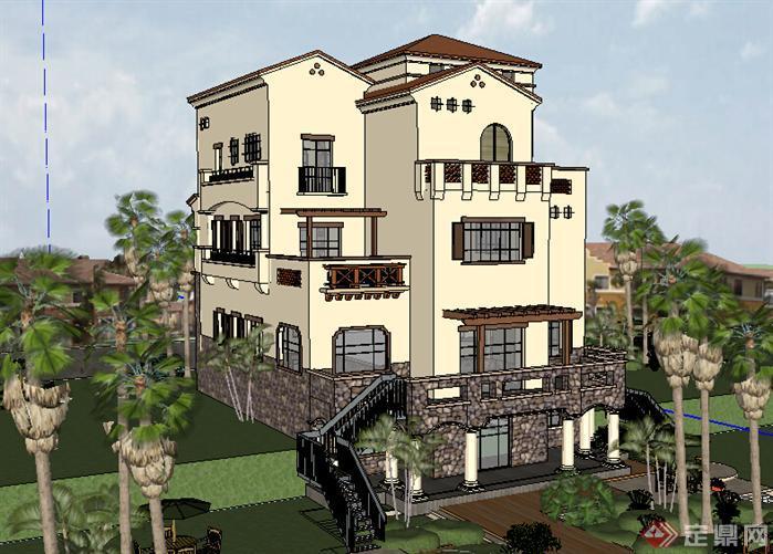 某欧式独栋别墅建筑设计方案su模型4