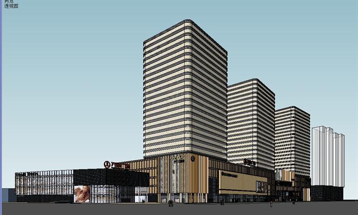天津某现代商业广场建筑设计su模型