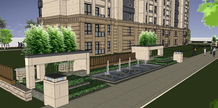 11F简欧式住宅楼单体建筑设计SU精致模型,该建筑方案设计布局合理,模型制作非常详细,可以在同类项目中做参考或适当修改后使用。