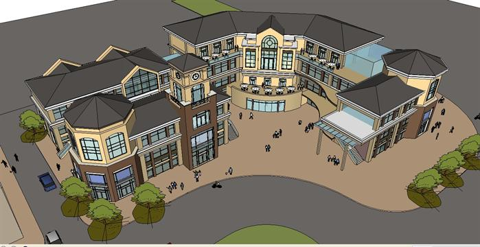 某简欧式街头商务会馆建筑设计方案su模型(5)