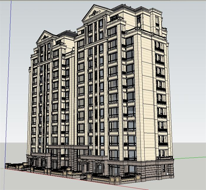 某法式小高层住宅公寓建筑设计su模型(含效果图)
