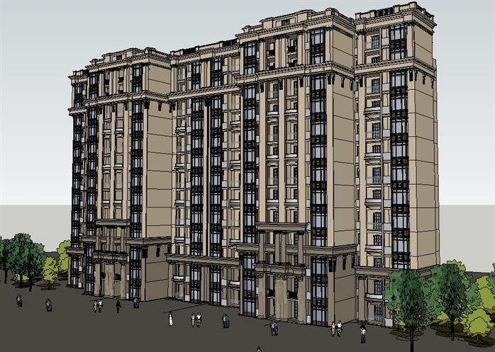 成都某法式小高层住宅楼建筑设计方案su模型(2)图片