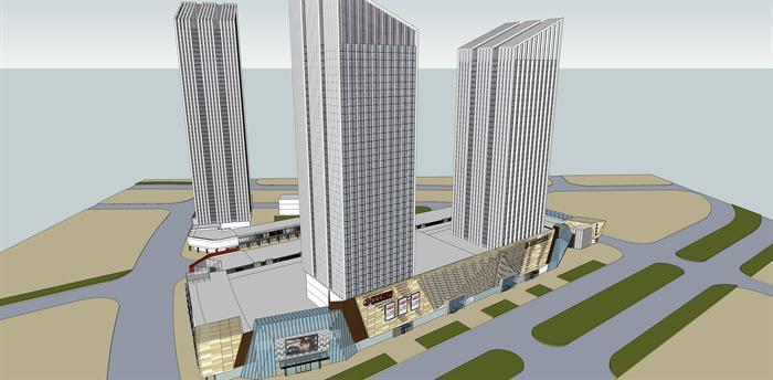 际影剧城 商业综合体建筑设计方案su模型1 附cad总平面图 1